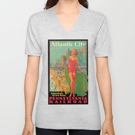 Atlantic city vintage bathing beauty Unisex V-Neck