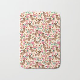Dapple cream Dachshund doxie floral florals dog breed gifts for pupper must haves Bath Mat