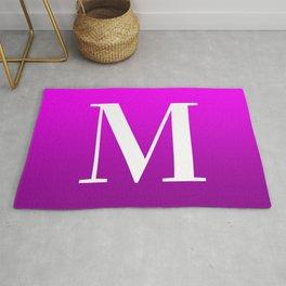 Modern Magenta Ombre Letter M Monogram Rug