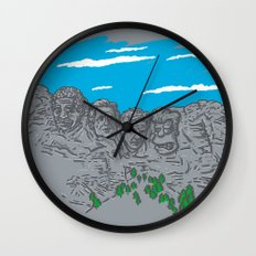 Presidents on a Mountain Wall Clock