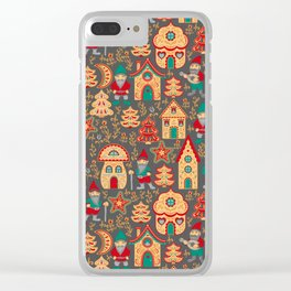 Fairy gnomes and magic houses.  Christmas trees, months and stars. Pattern in folk style. Clear iPhone Case