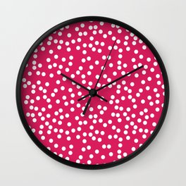 Deep Pink and White Polka Dot Pattern Wall Clock