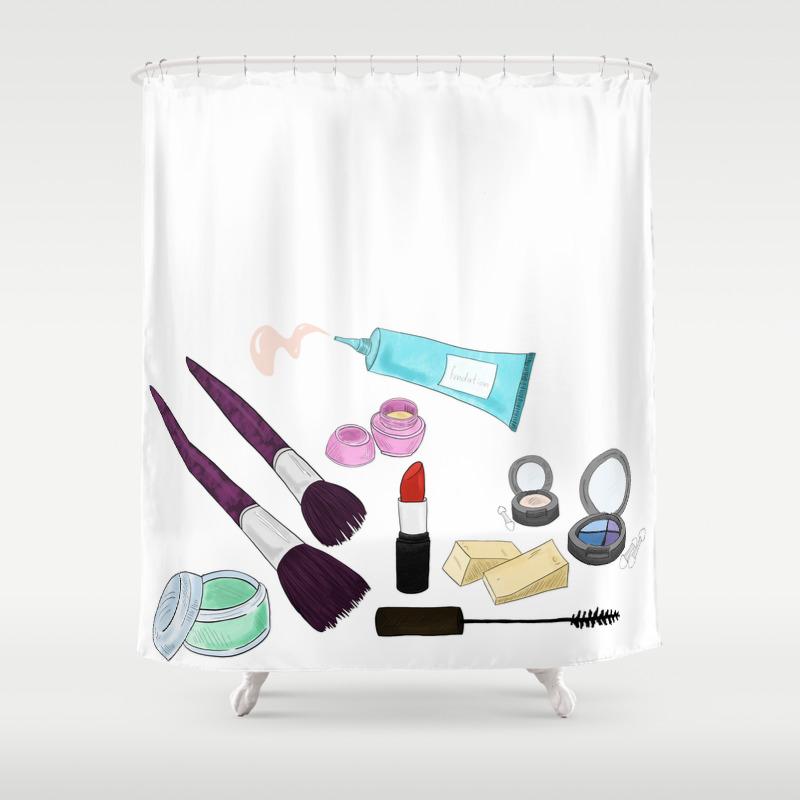 Makeup Bag Shower Curtain By Smokkis