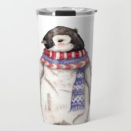 Baby Penguin in Red and Blue Scarf. Winter Season Travel Mug