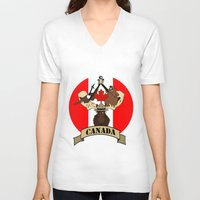 canada V-neck T-shirts featuring CANADA by scarah