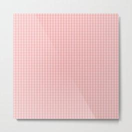 Mini Lush Blush Pink Gingham Check Plaid Metal Print