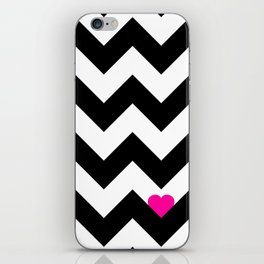 Heart & Chevron - Black/Pink iPhone Skin