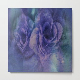 Vintage Blue and Purple Rose Abstract Metal Print