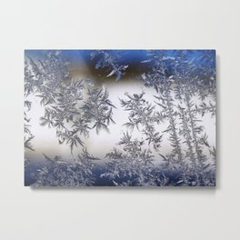 Frost Covered Glass Metal Print
