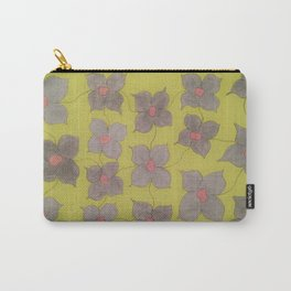 Grey and Yellow Floral Carry-All Pouch