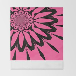 The Modern Flower Pink & Black Throw Blanket