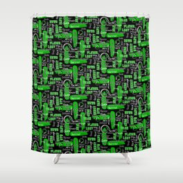 Gamer Lingo-Black and Green Shower Curtain