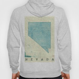 Nevada State Map Blue Vintage Hoody