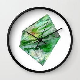 Crystal Green Watercolor Gem Wall Clock