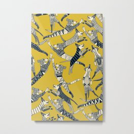 dog party indigo yellow Metal Print