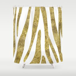 Golden exotics - Zebra and crisp white Shower Curtain
