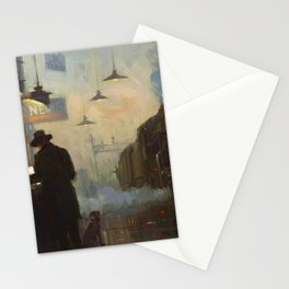 Midnight, The Night Train railway station cityscape - landscape painting by Lionel Walden Stationery Cards