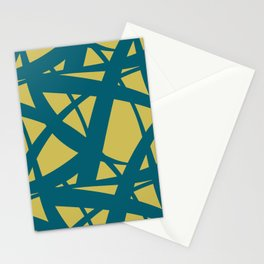 Tropical Dark Teal Abstract Mosaic Pattern 3 Inspired by Sherwin Williams 2020 Trending Color Oceanside SW6496 on Dark Yellow Stationery Cards