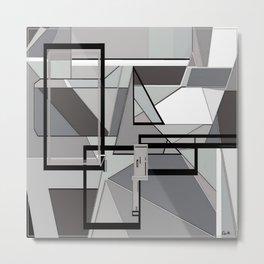 Gray Geometry Metal Print