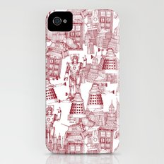 Doctor Who Toile de Jouy | 'Walking Doodle' | Red iPhone (4, 4s) Slim Case