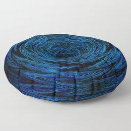 Spinning blue waves Floor Pillow