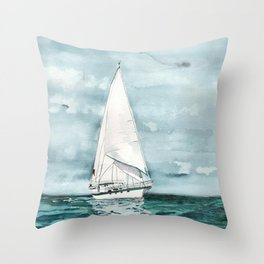 Sailboat painting on turquoise waters stormy skies Throw Pillow