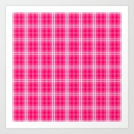 Bright  Neon Pink and White Tartan Plaid Check Art Print