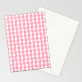 Pink Gingham Stationery Cards