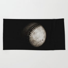 Battered Baseball in Black and White Beach Towel