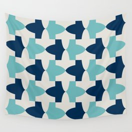 Alhambra Motif Blue Palette Wall Tapestry