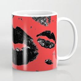 Kisses All Over (Black & Red) Coffee Mug