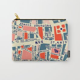 paris map blue Carry-All Pouch