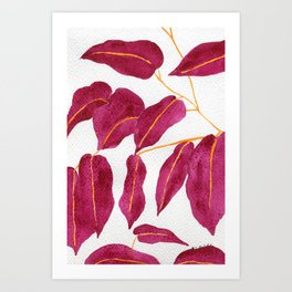 Ruby and gold leaves watercolor illustration Art Print