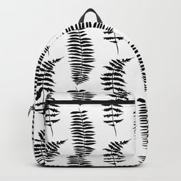 Hand painted watercolor black white fern floral leaves Backpack
