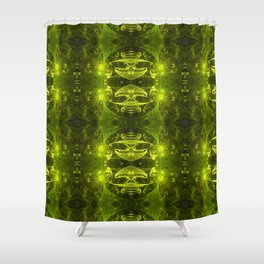 Emerald Green Fractal Shower Curtain
