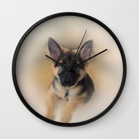 german shepherd Wall Clocks featuring German Shepherd by Judith Lee Folde Photography & Art