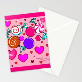 Happy Happy Hearts and Sweets Stationery Cards