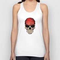 indonesia Tank Tops featuring Dark Skull with Flag of Indonesia by Jeff Bartels