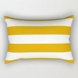 Golden Honey and White Large Stripes Pattern Rectangular Pillow