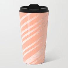 Sweet Life Swipes Peach Coral Shimmer Metal Travel Mug