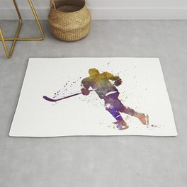 Skater with stick in watercolor Rug