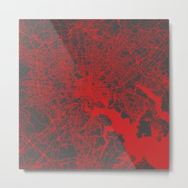 Baltimore map red Metal Print