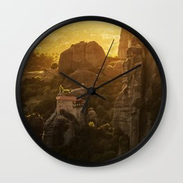 Golden hour at Meteora Wall Clock