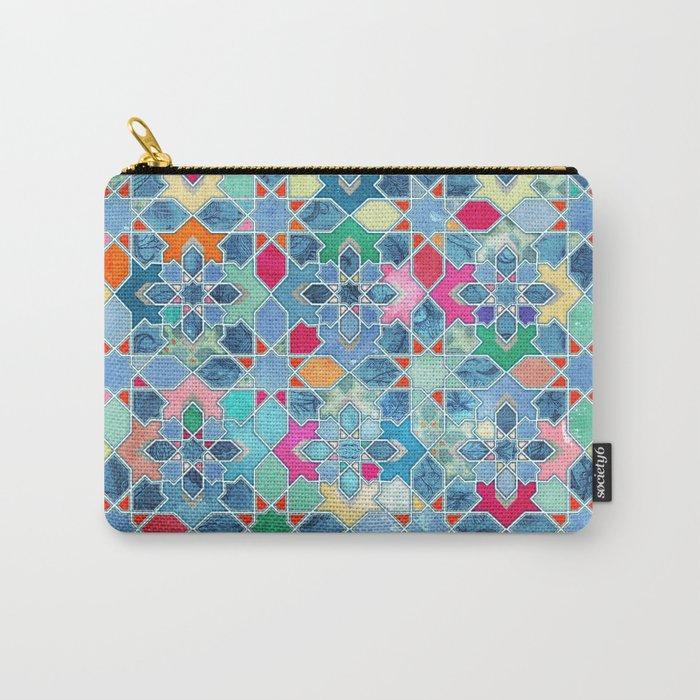 Pretty Pastel Moroccan Tile Mosaic Pattern Carry-All Pouch