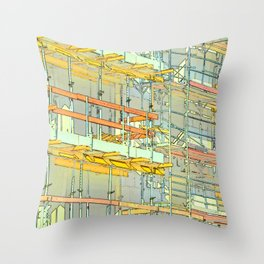 Construction site scaffolding in Berlin Throw Pillow
