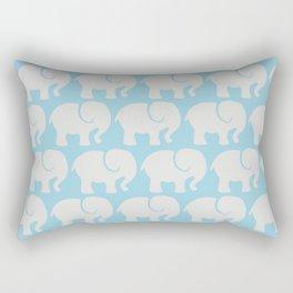 Troop Of Elephants (Elephant Pattern) - Gray Blue Rectangular Pillow