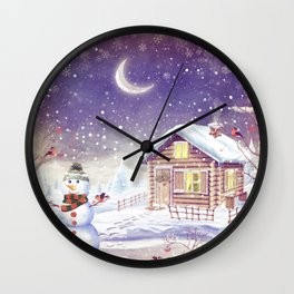 Christmas scene with snowman and house Wall Clock