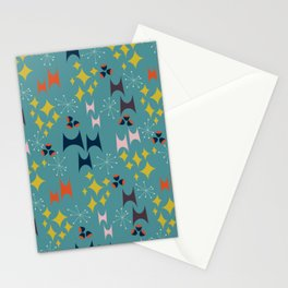 Deviled Starbursts Teal Stationery Cards