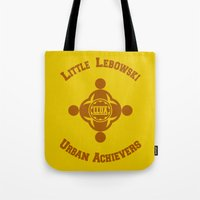 lebowski Tote Bags featuring Little Lebowski Urban Achievers  |  The Big Lebowski by Silvio Ledbetter