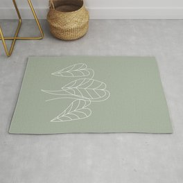 Boho, Sage Green Decor, Line Art, Botanical Rug